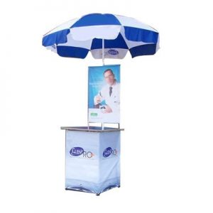 promotional table with umbrella in Nigeria